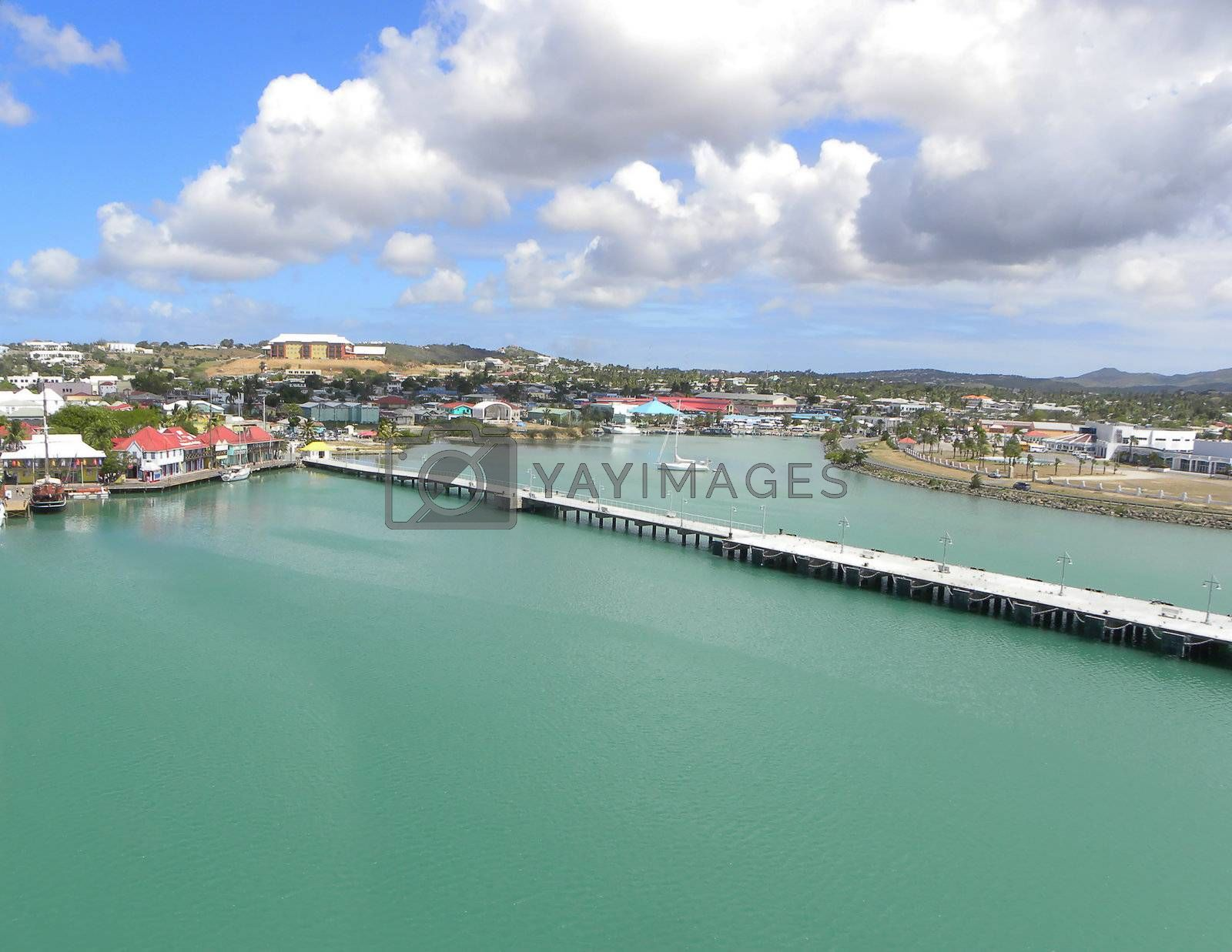 view of the port of Antigua in the Caribbean islands