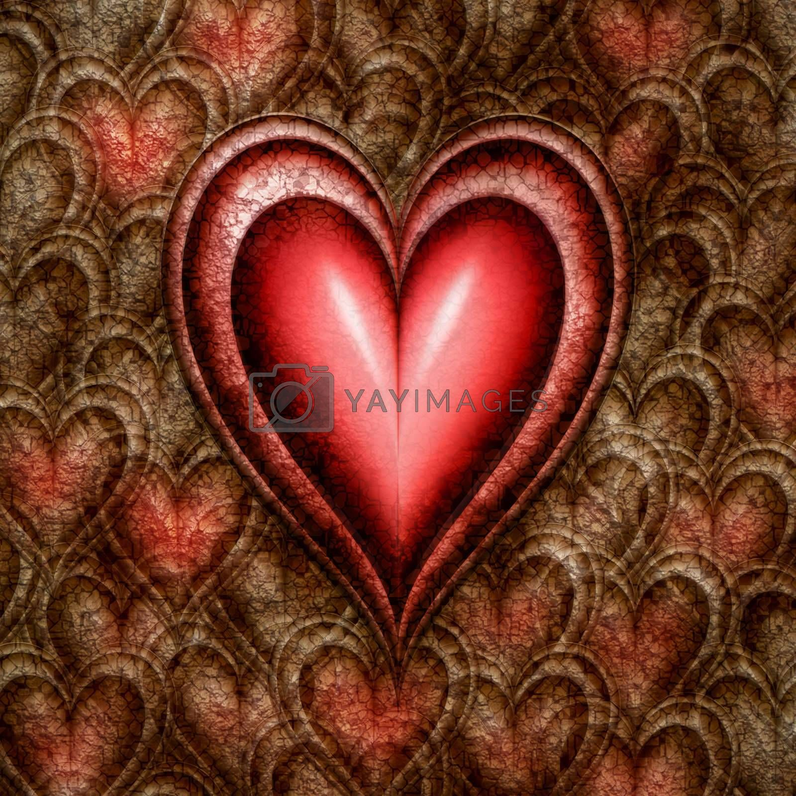 red hearts emerging from those of stone with the big red on already there