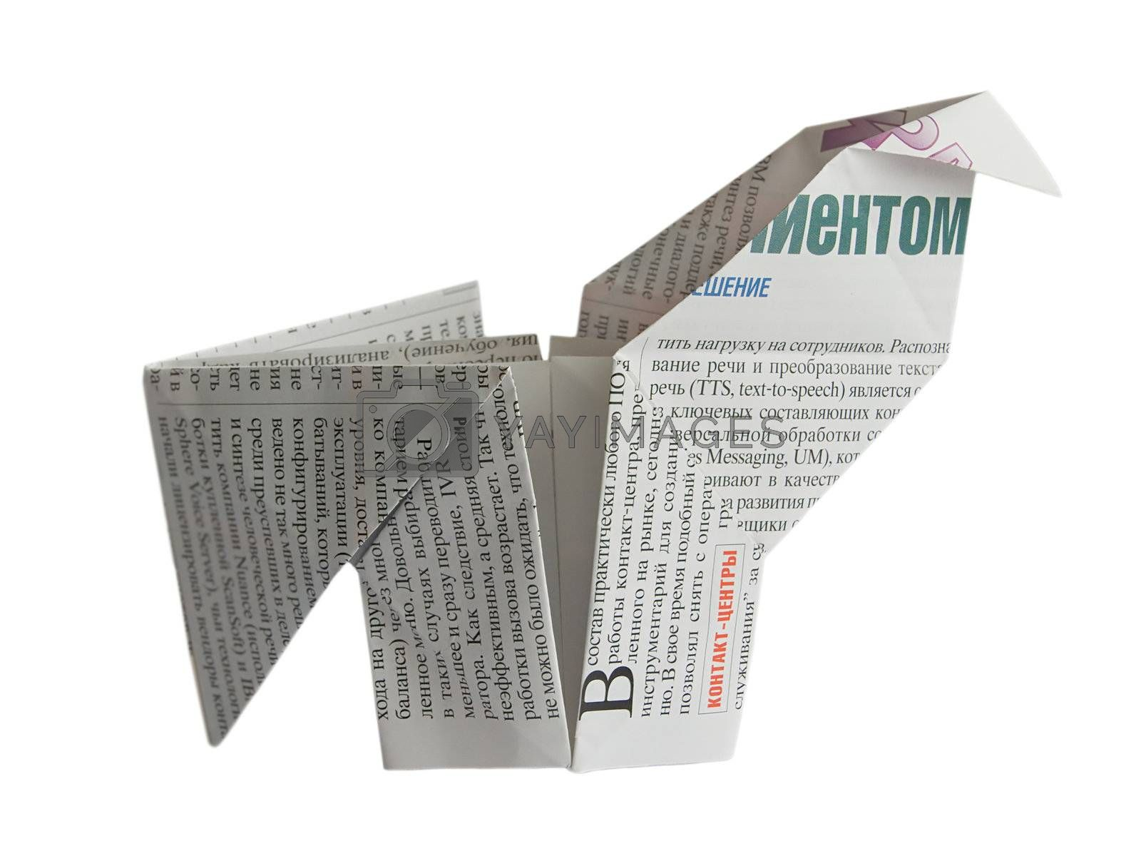 Newspaper origami cock isolated on white