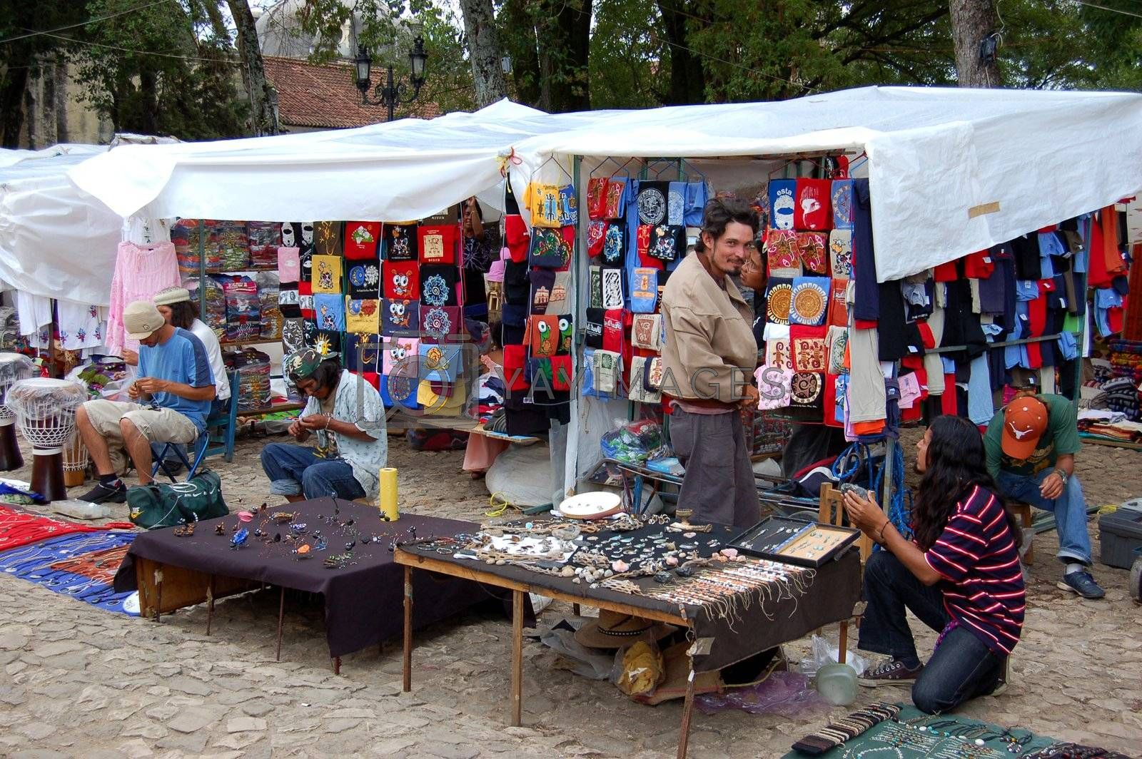 Flea Market Vendors Selling Jewellery in Chiapas, Mexico