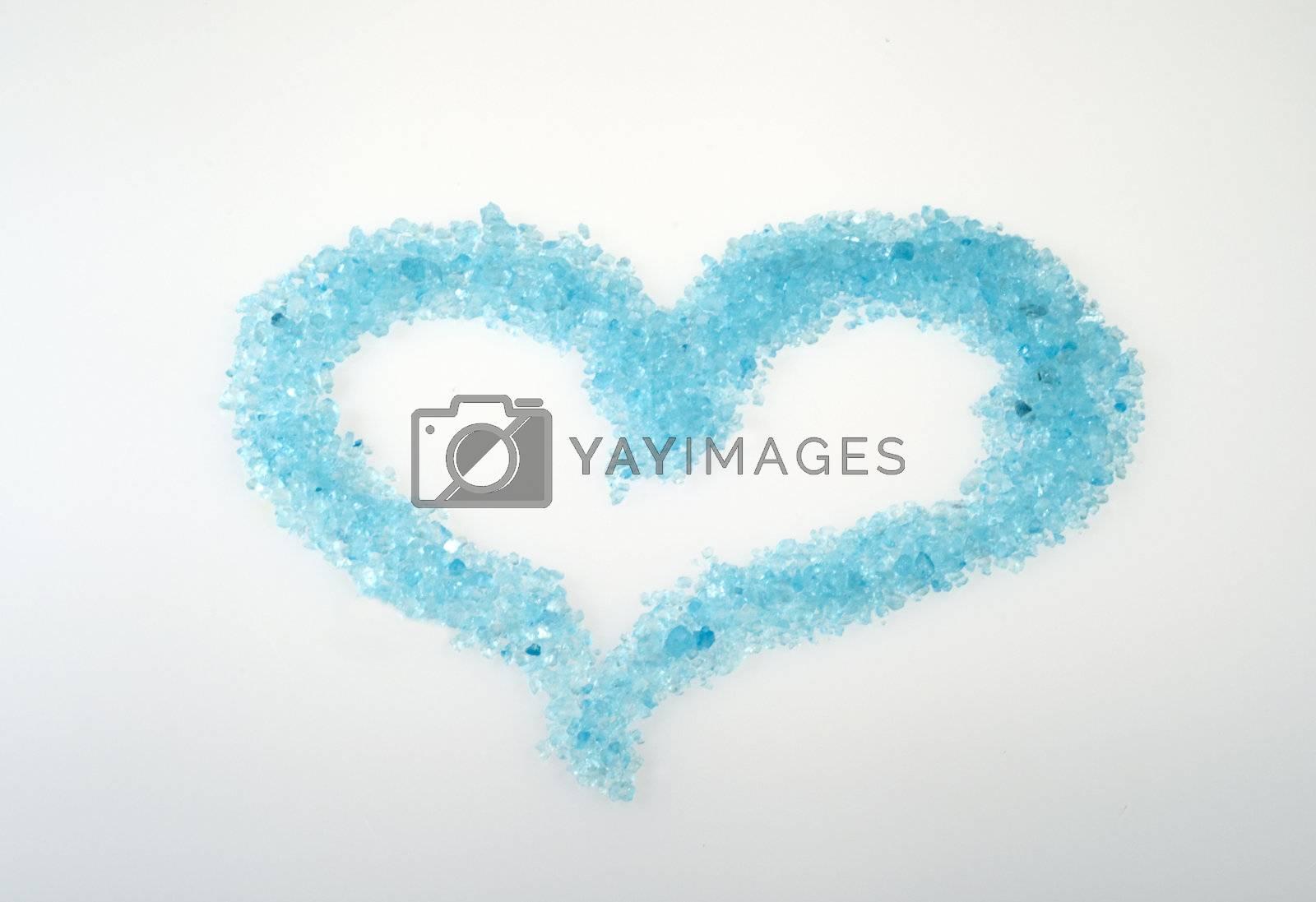 heart blue consisting of crystals of bath salts