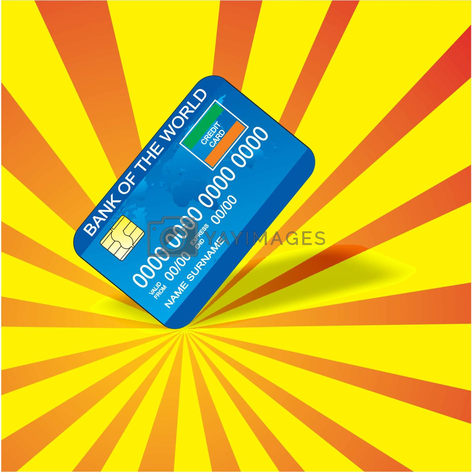 Bank credit card on abstract background