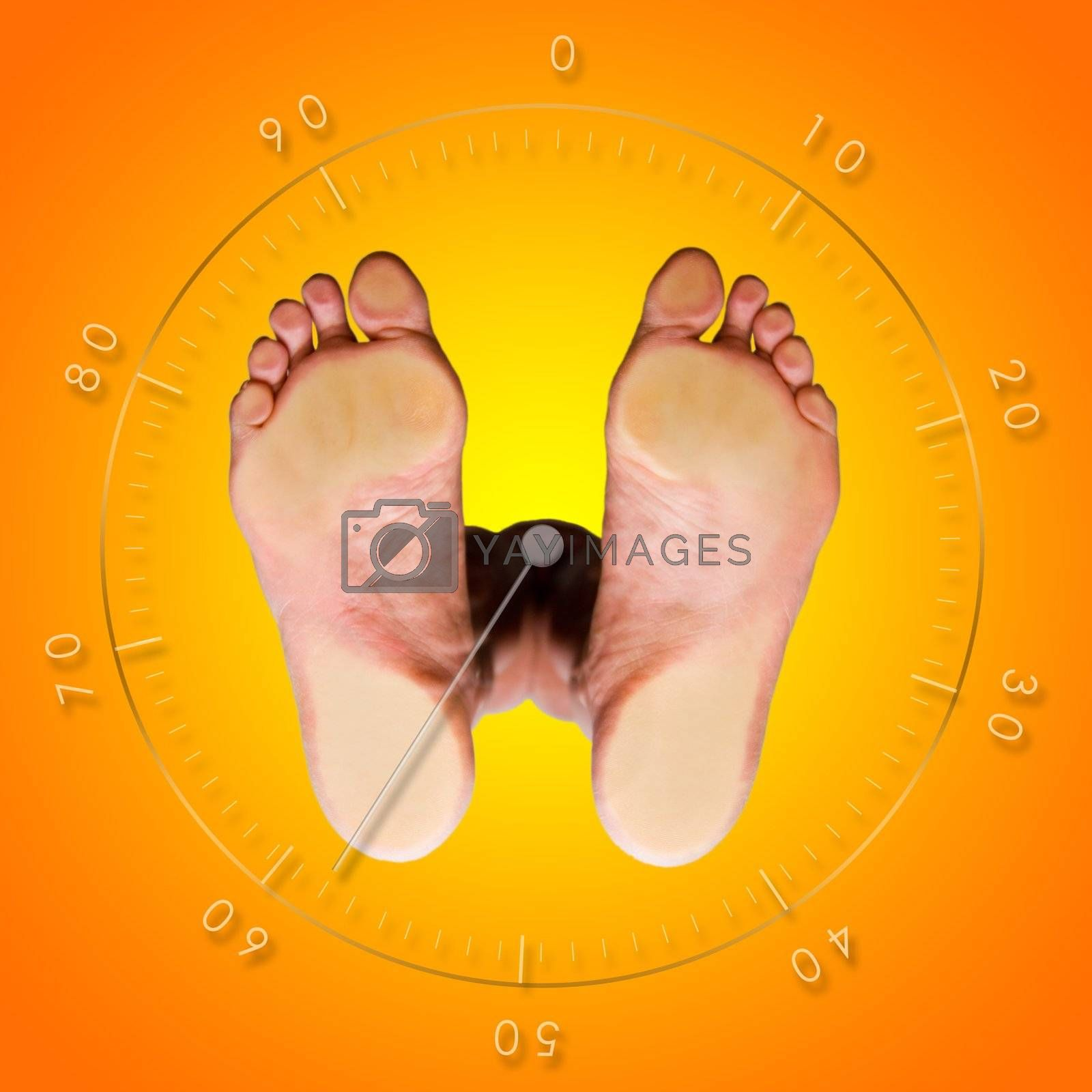 View from below of a weight control balance scale