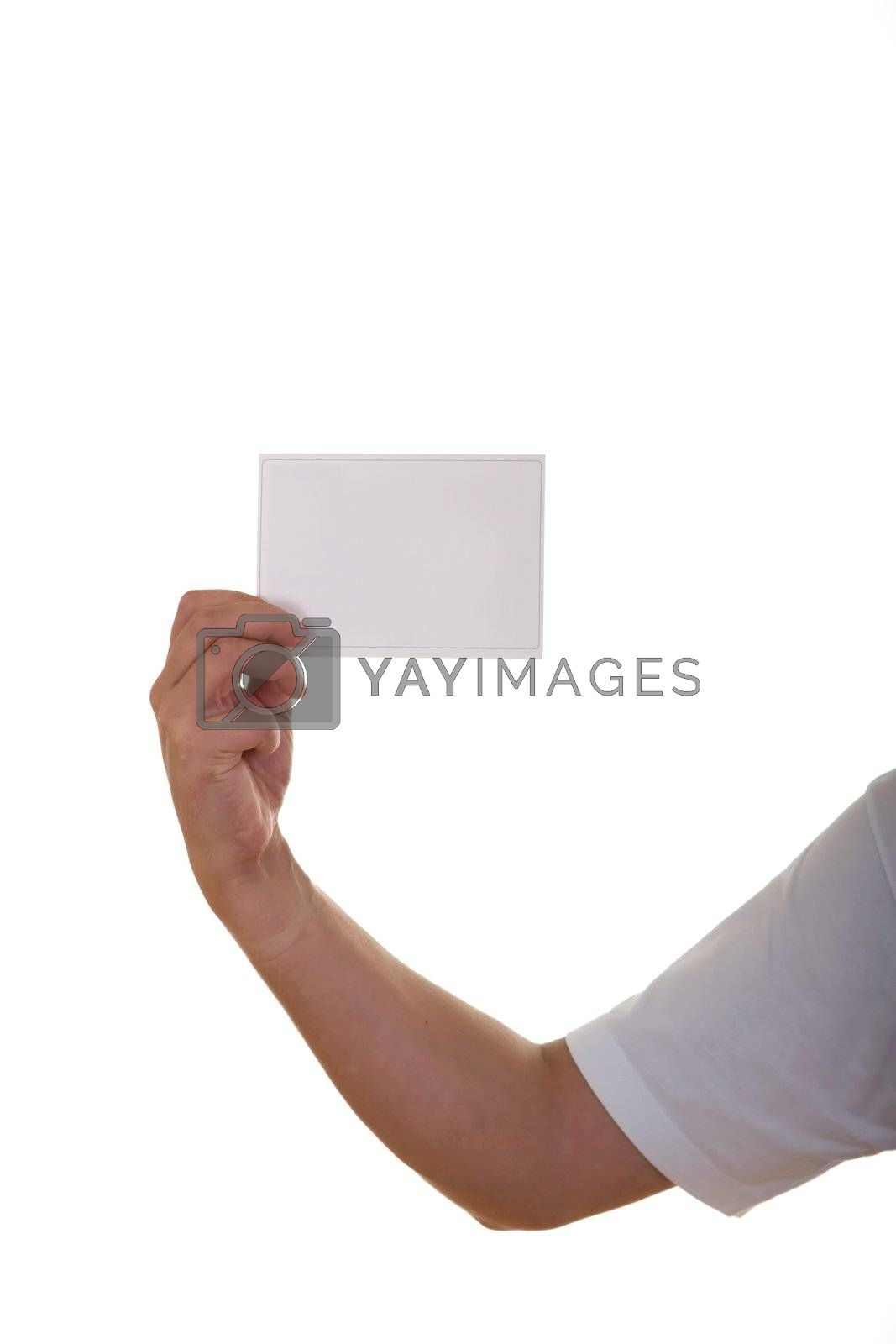 Hand holding blank card. Isolated on white background