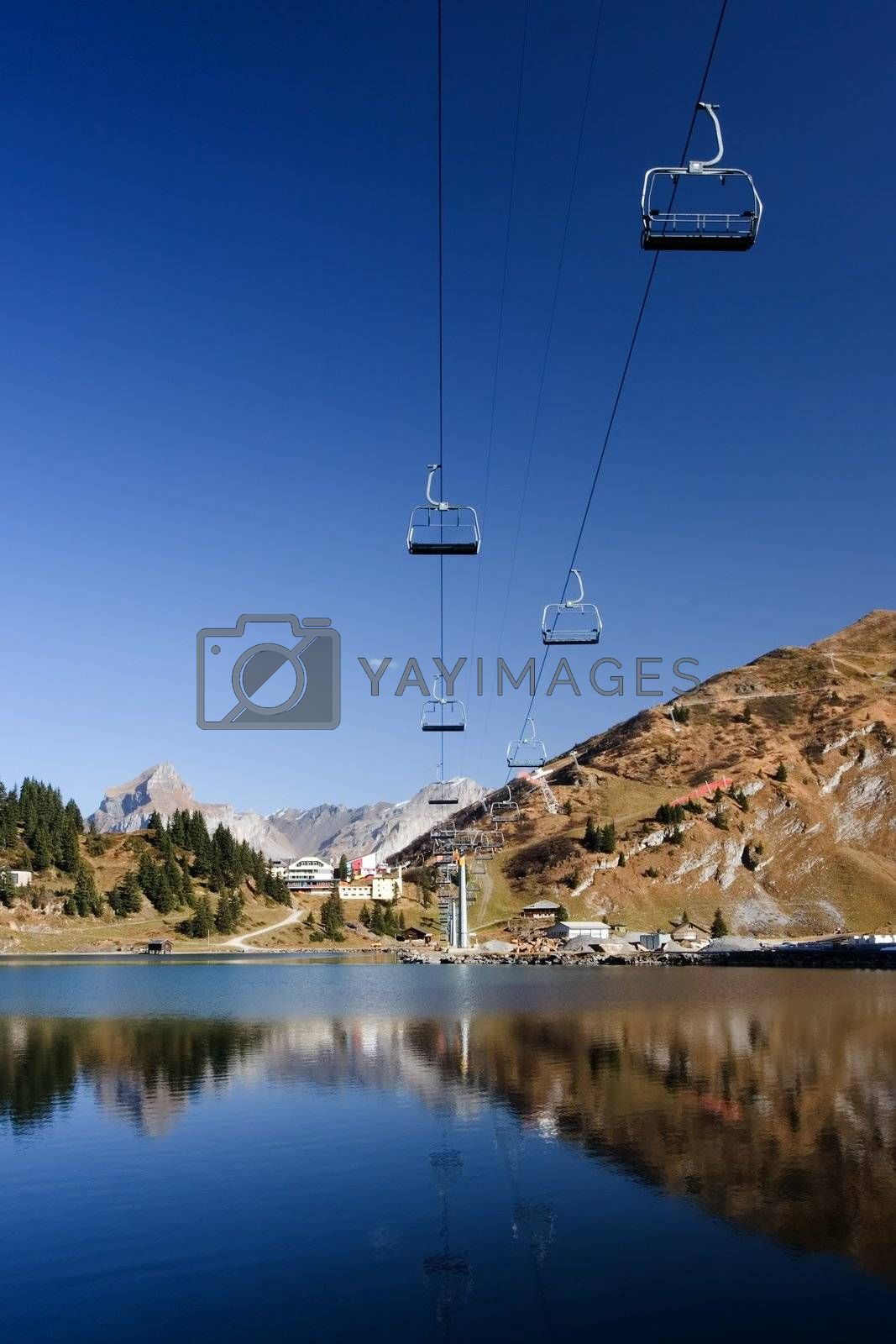 ferry cable mirrored in lake