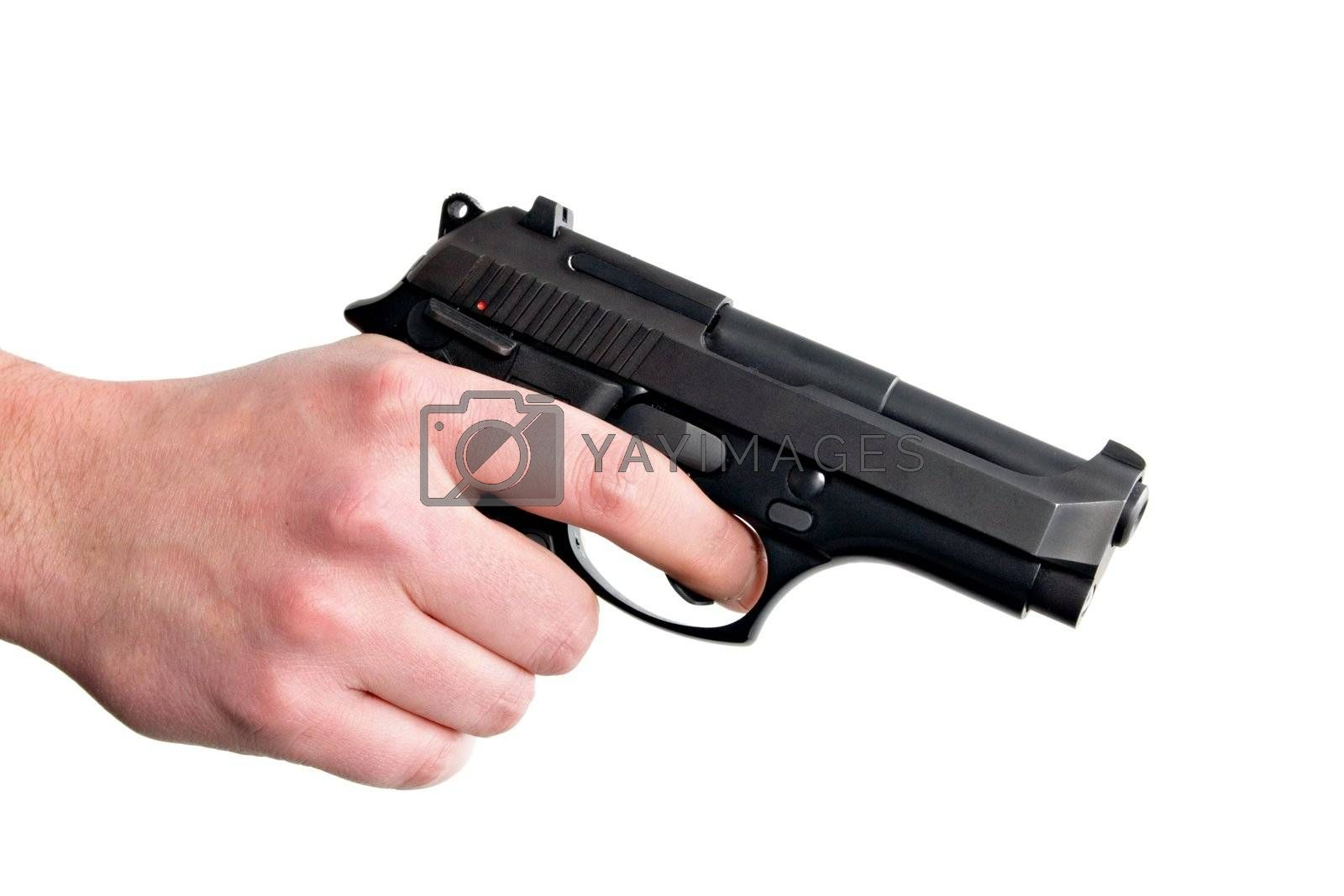 Hand holding gun. Isolated on white background.