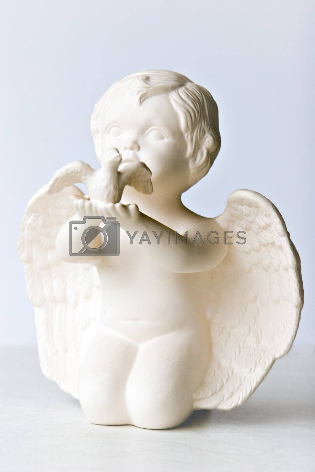 Angel and Dove figure in white background