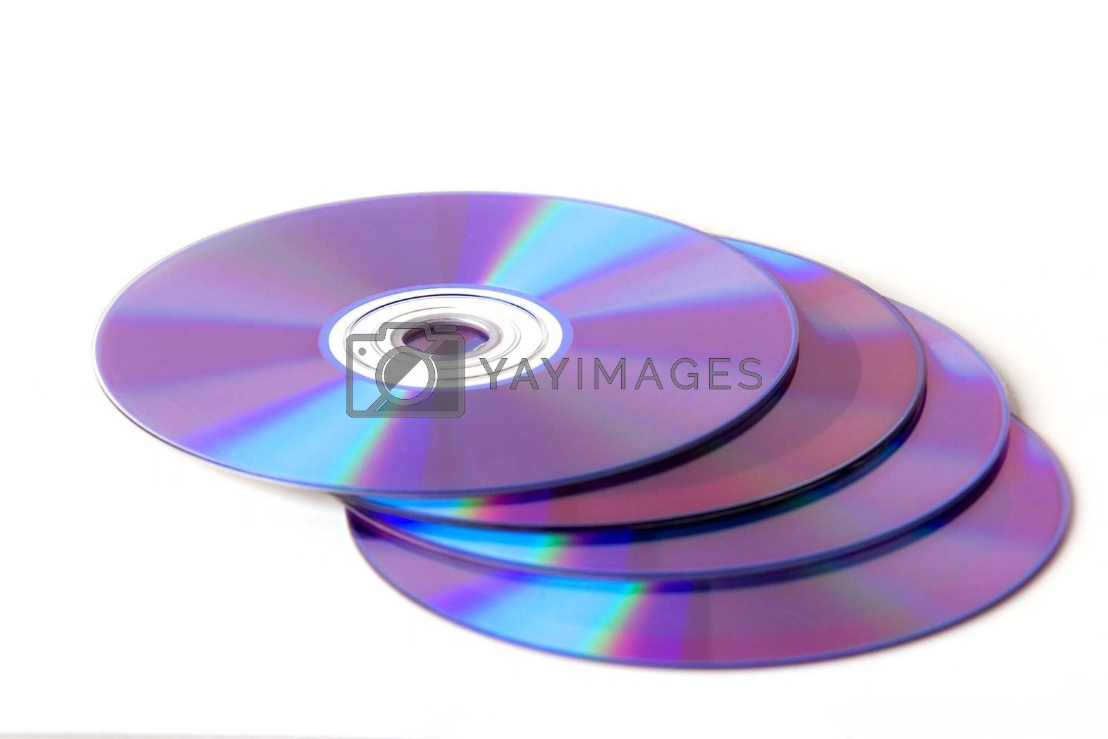 DVDs on white background