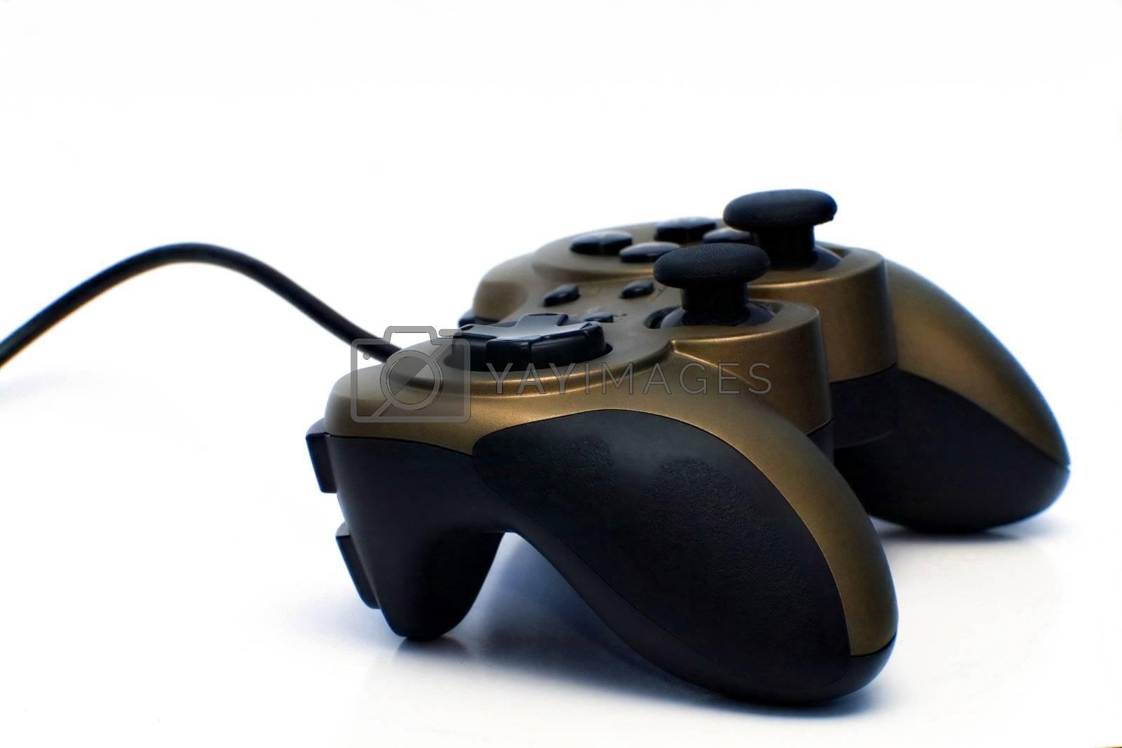 Gamepad on white background