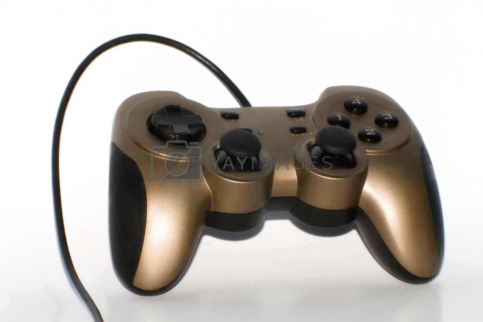 Golden Gamepad on white background