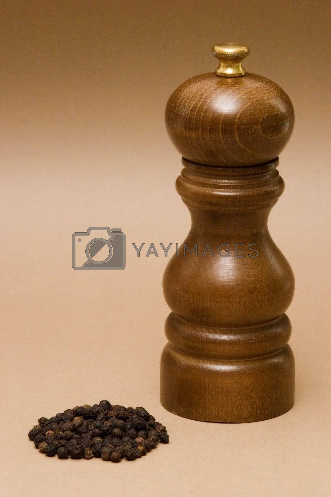 Peppermill and black pepper grains