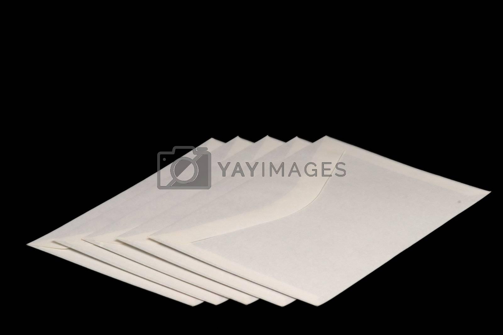 Letter envelopes on black background