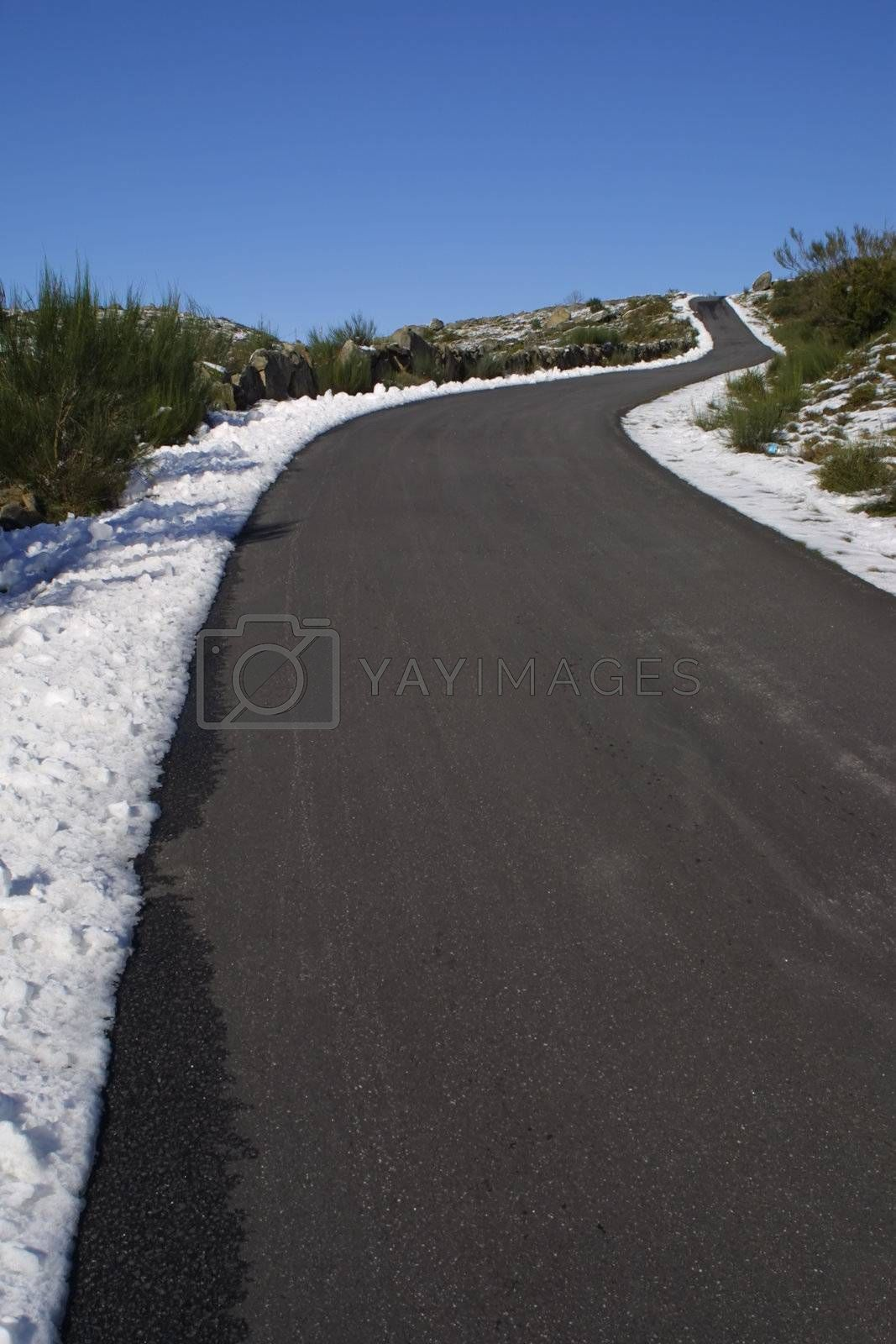 Tarmac road and blue sky