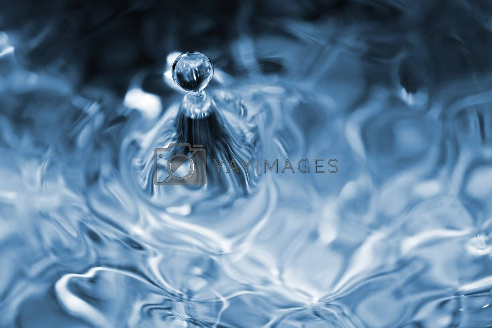 Blue water drop macro