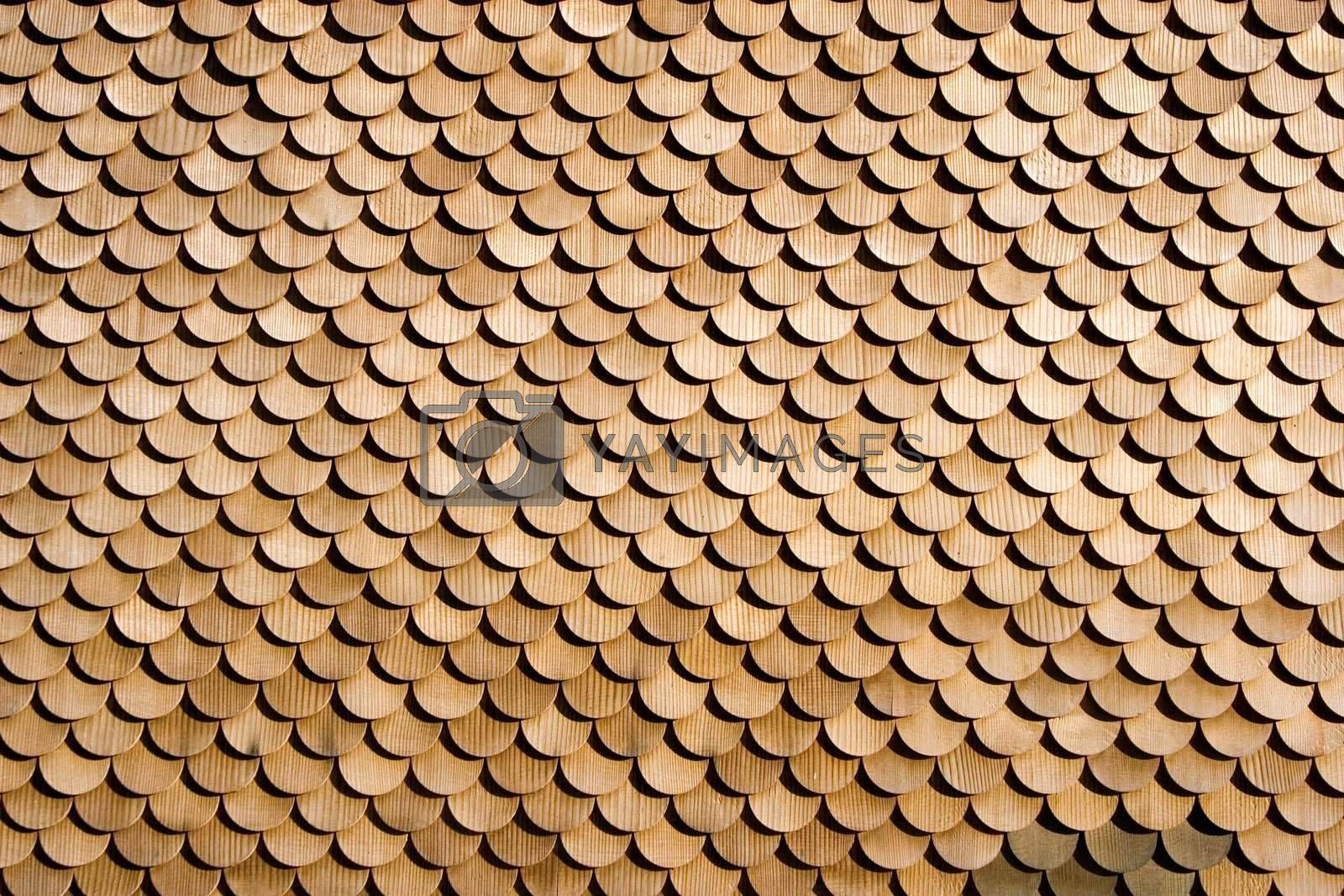 Wood pattern used to cover exterior walls on houses.