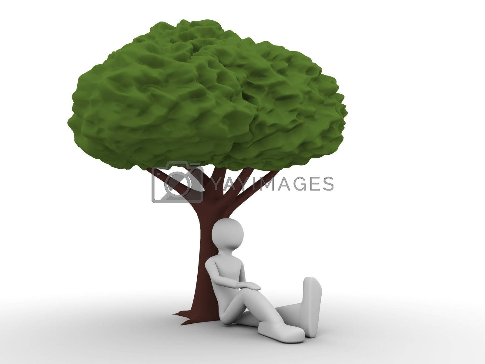 3d rendered copyspaced image with a man sitting under the tree and thinking about ecological situation