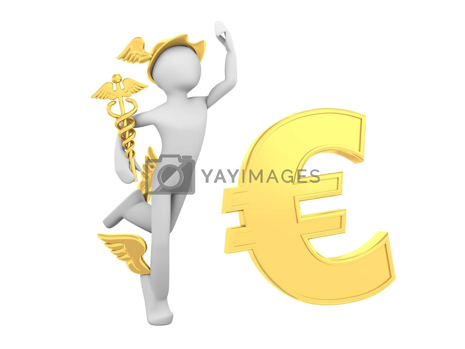Hermes (Mercury) with Caduceus and Euro Sign