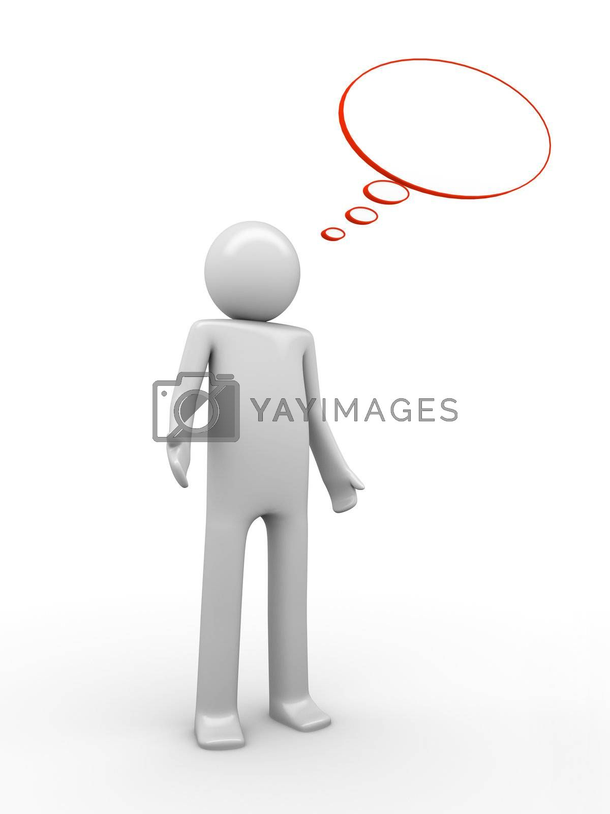 3d rendered copyspaced image with a man standing on a white background with an empty baloon with copyspace to white a text or collage an image