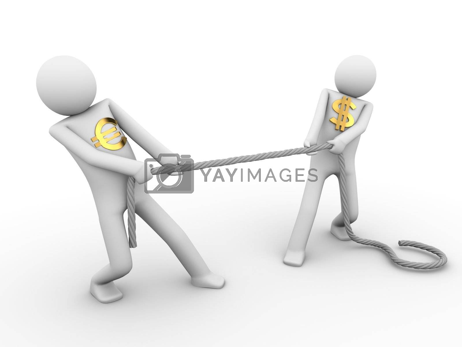 tug-of-war among dollar and euro; 3d rendered copyspaced image with a two men
