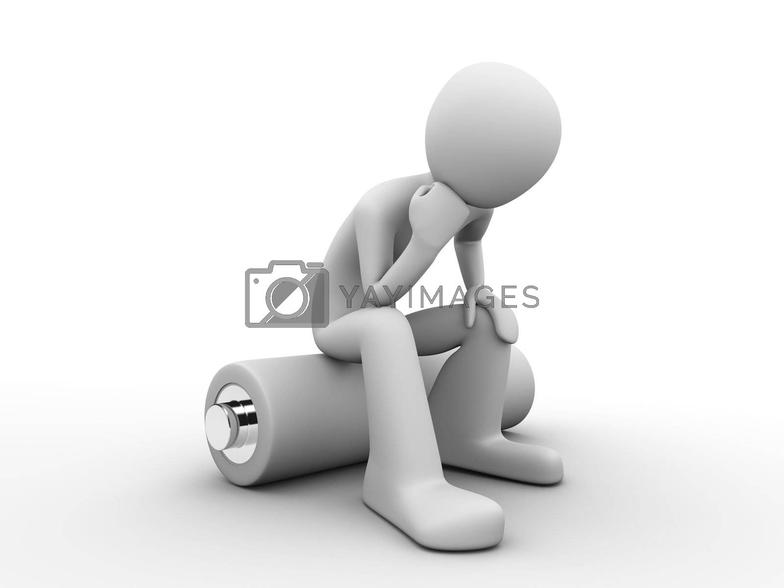 3d rendered copyspaced image with a man sitting on a battery and thinking about saving energy resources