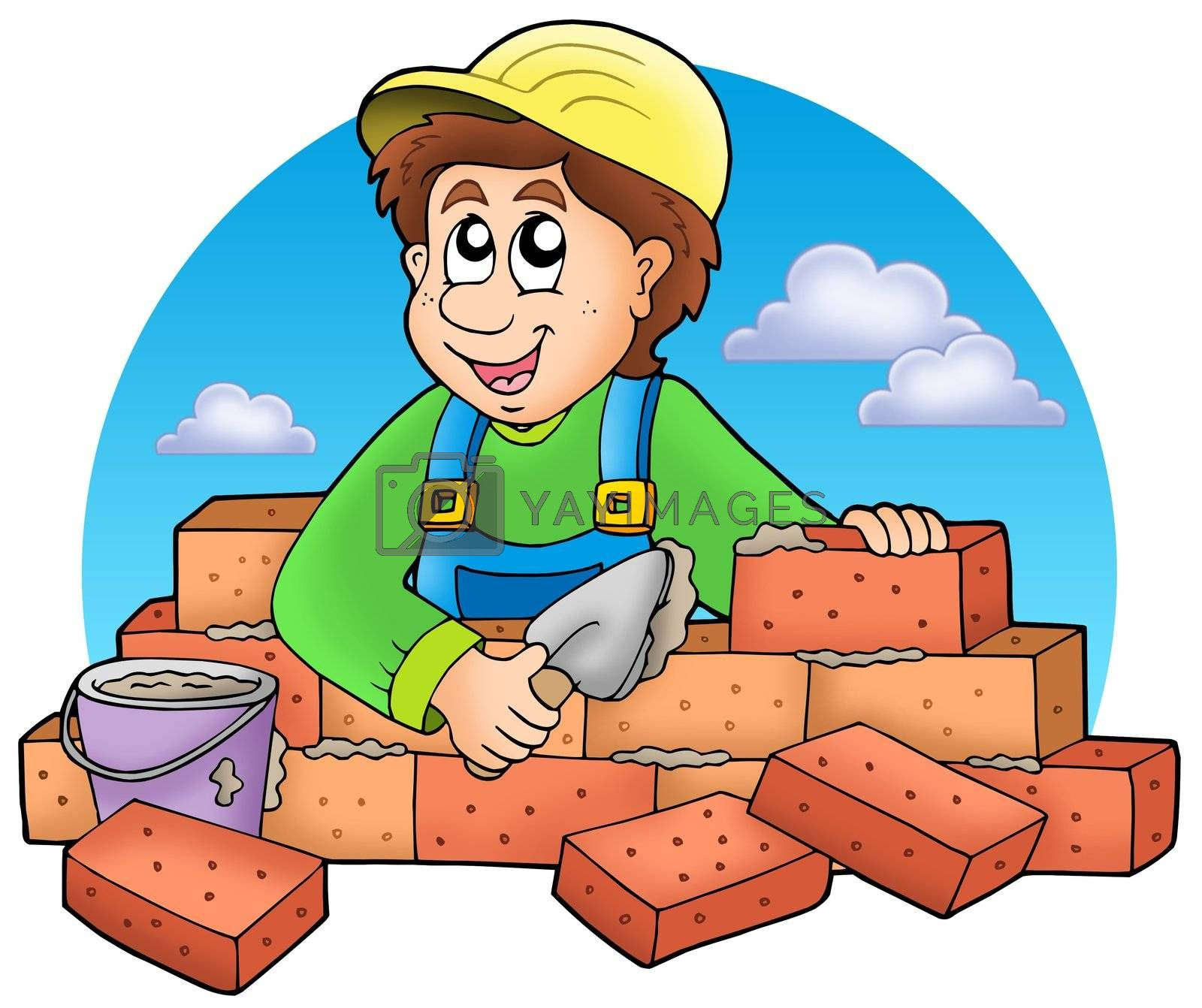 Cartoon bricklayer with clouds by clairev