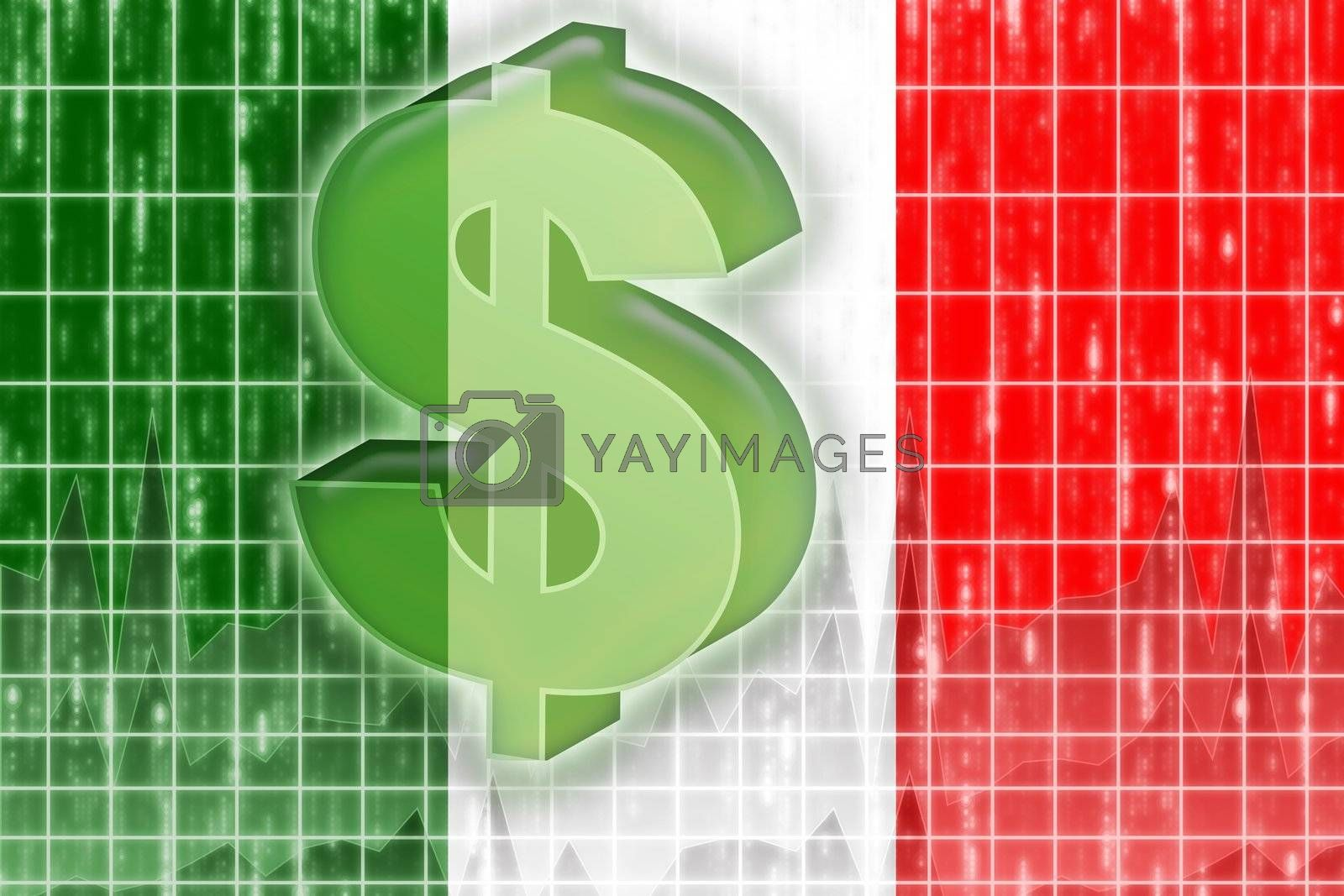 Flag of Italy finance economy by kgtoh
