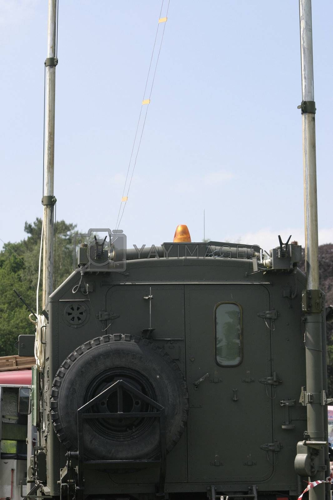 military truck with radio masts