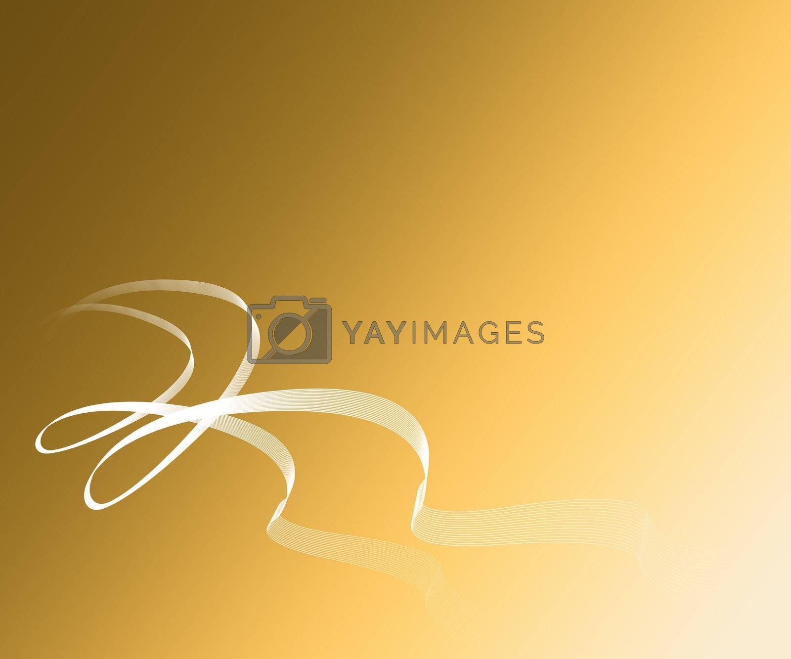 tichet with whit white ribbons on gold backgrounds