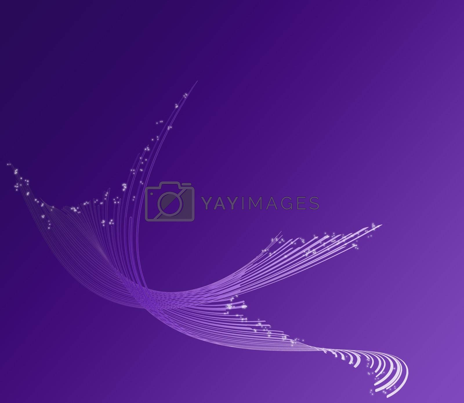 decoration on white paper with purple background gradient