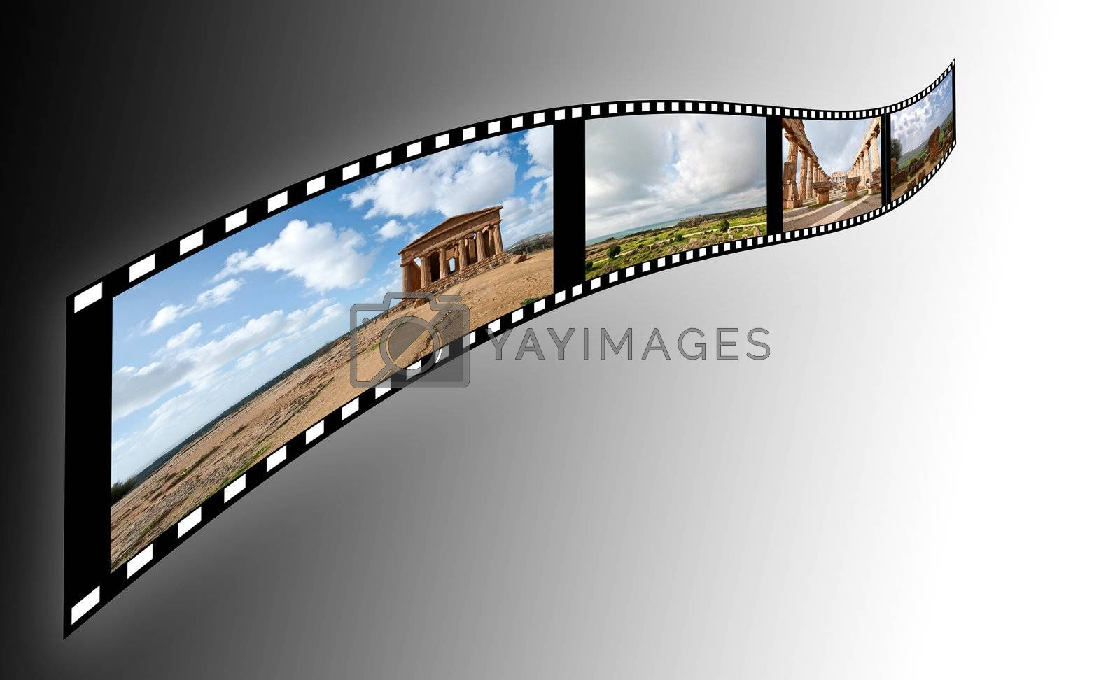 film with pictures of the Valley of the Temples in Sicily on a soft background