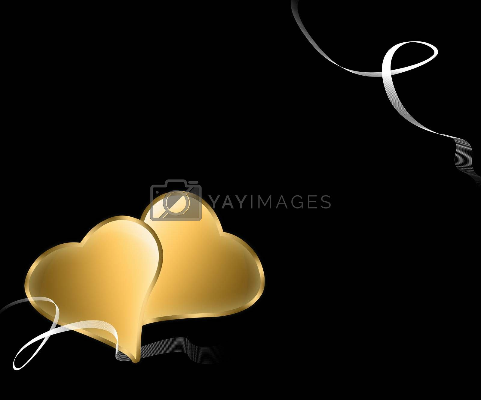 pair of golden hearts with Nasti white on black background