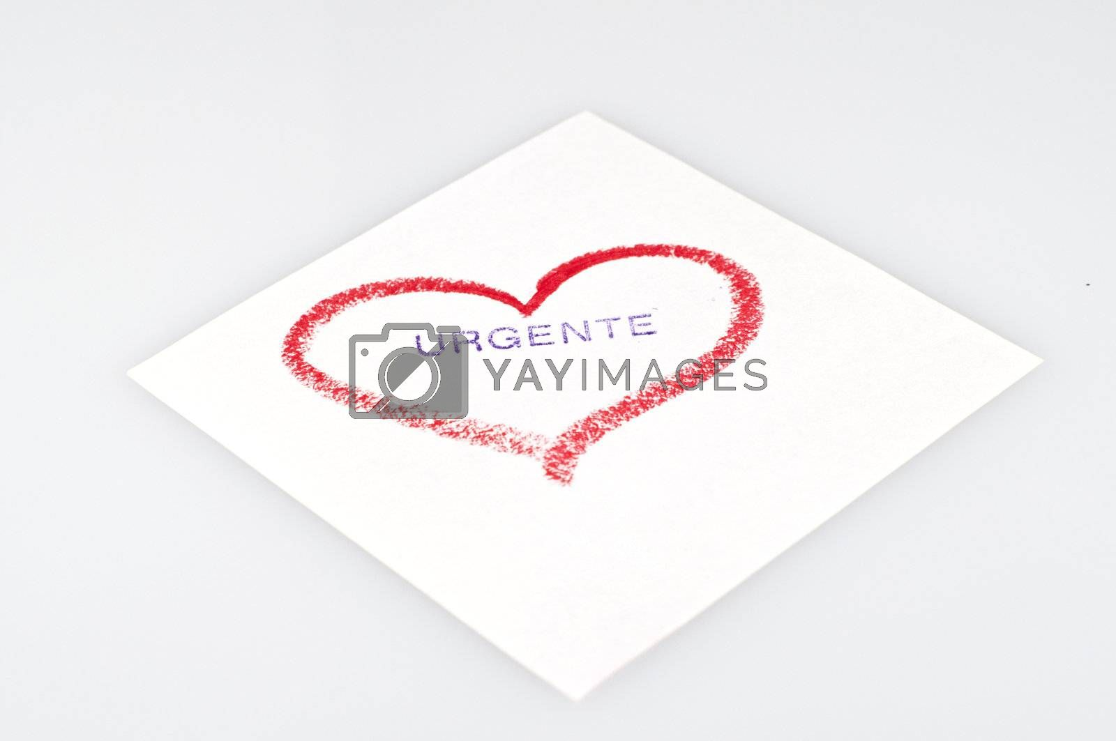 heart drawn in lipstick on a white background
