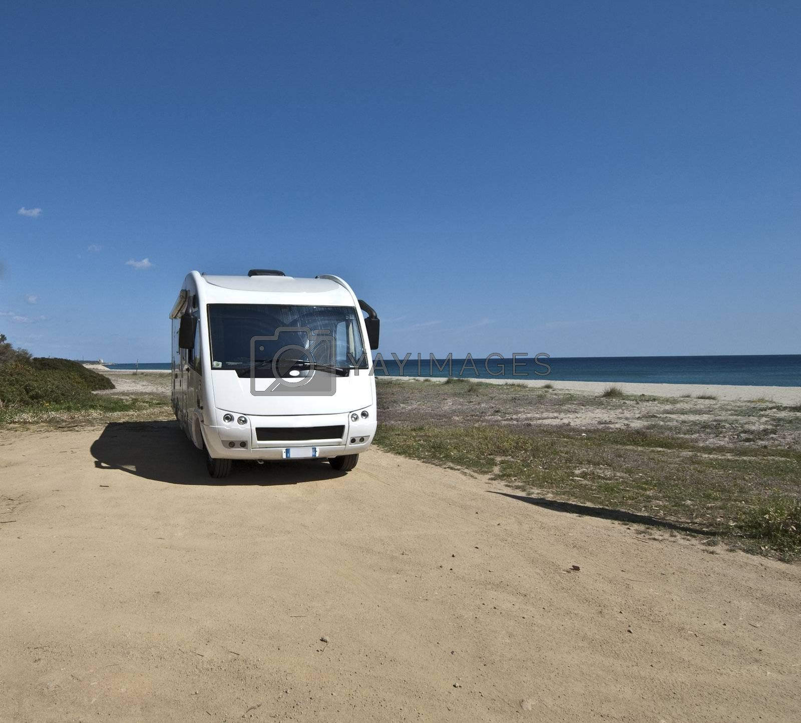 camper parked on a beach in Sardinia