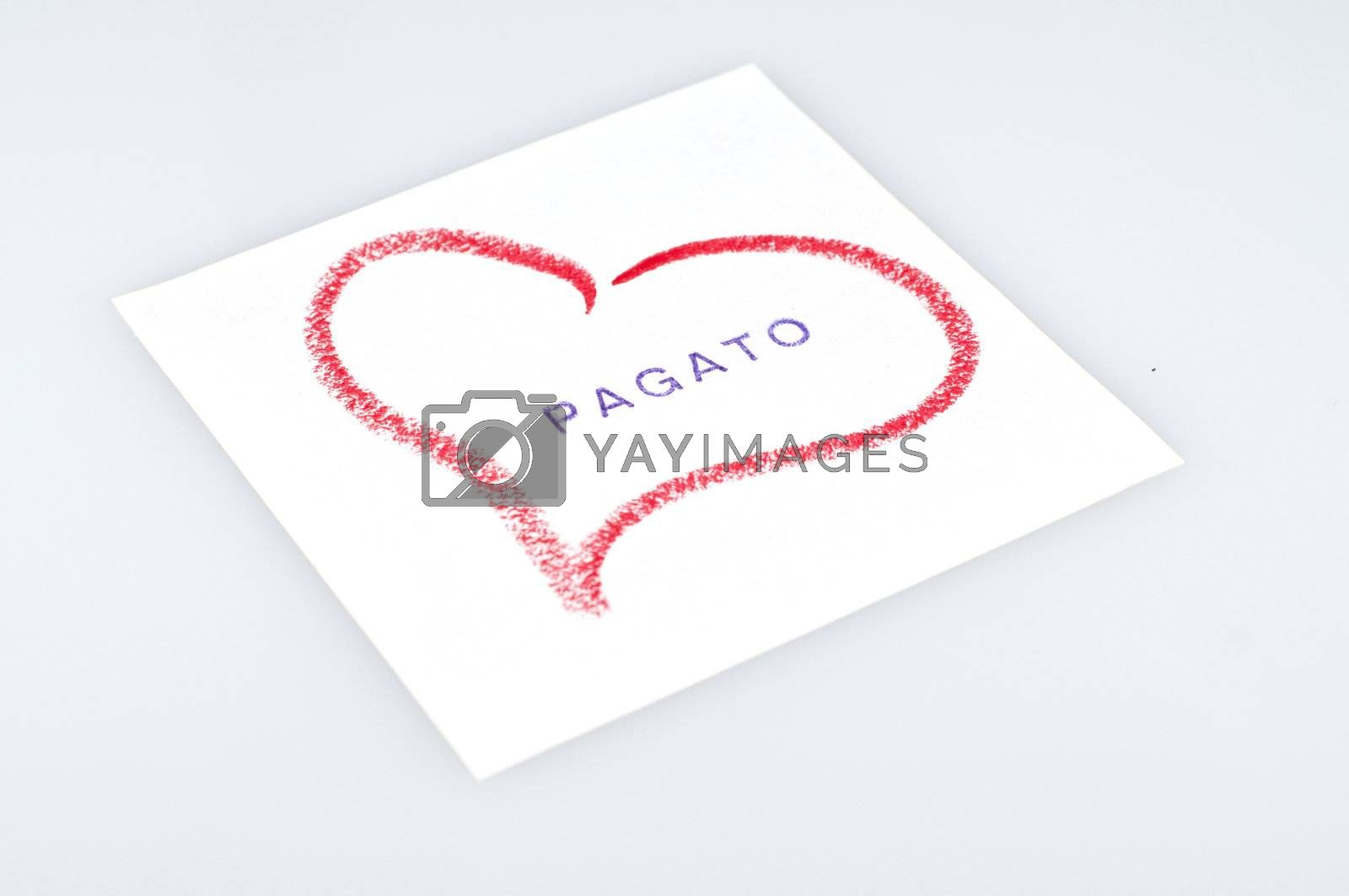 sheet with heart drawn with lipstick and writing paid