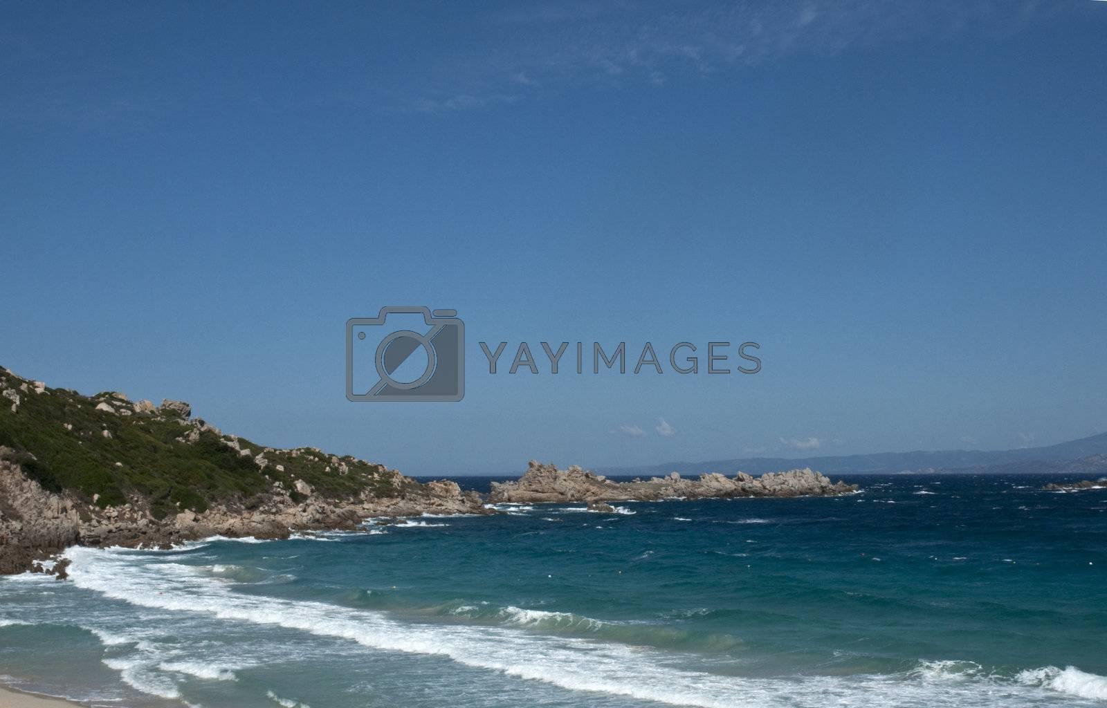 View of a stretch of coast in Sardinia