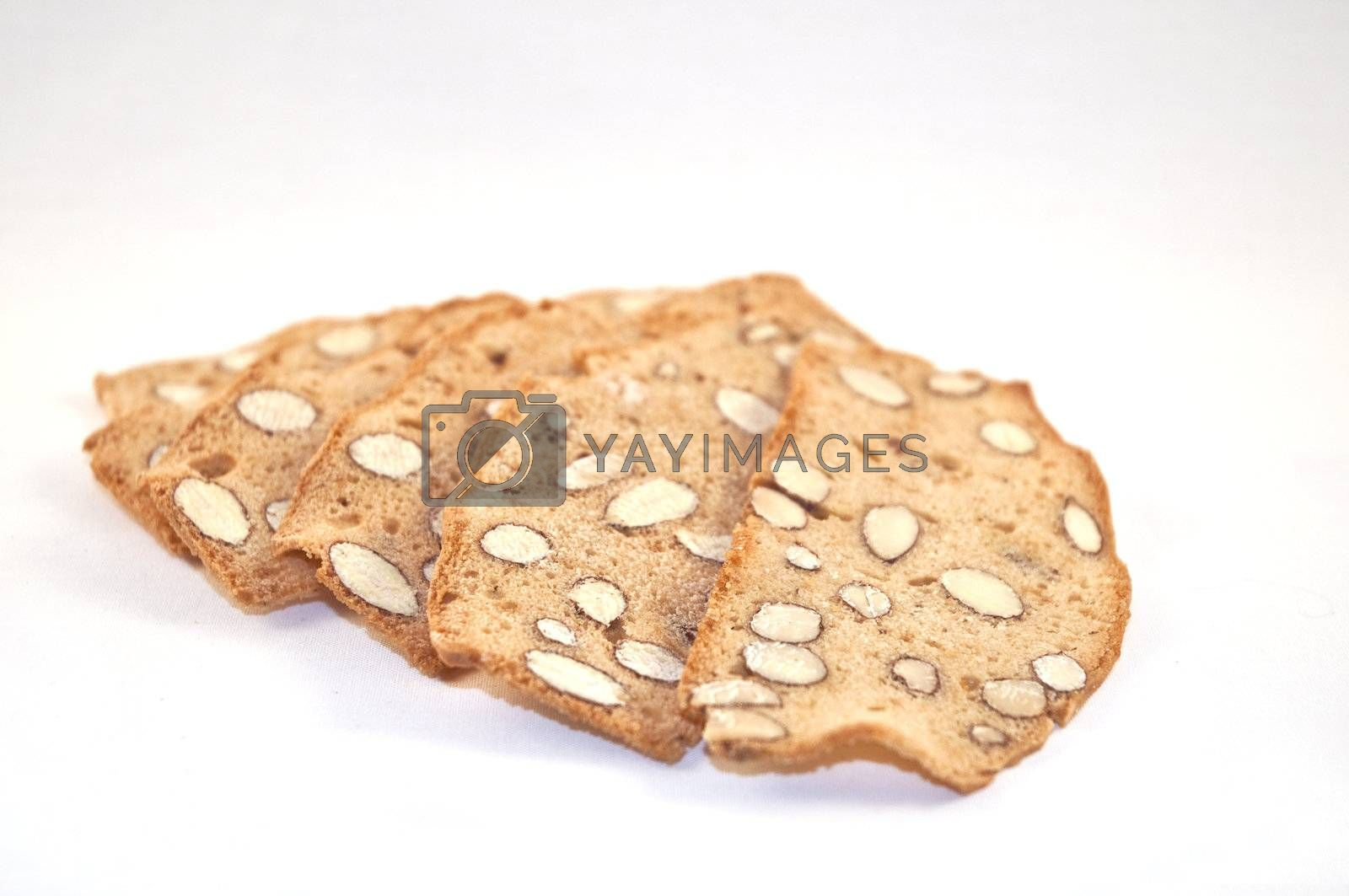 typical Tuscan biscuits on a white background