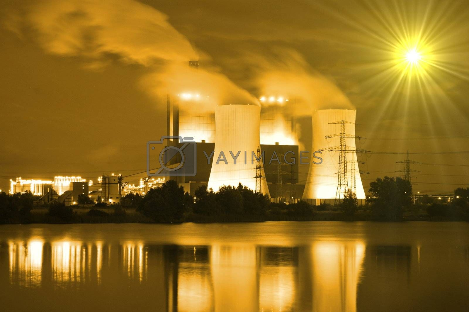 abstract power plant showing concept for pollution