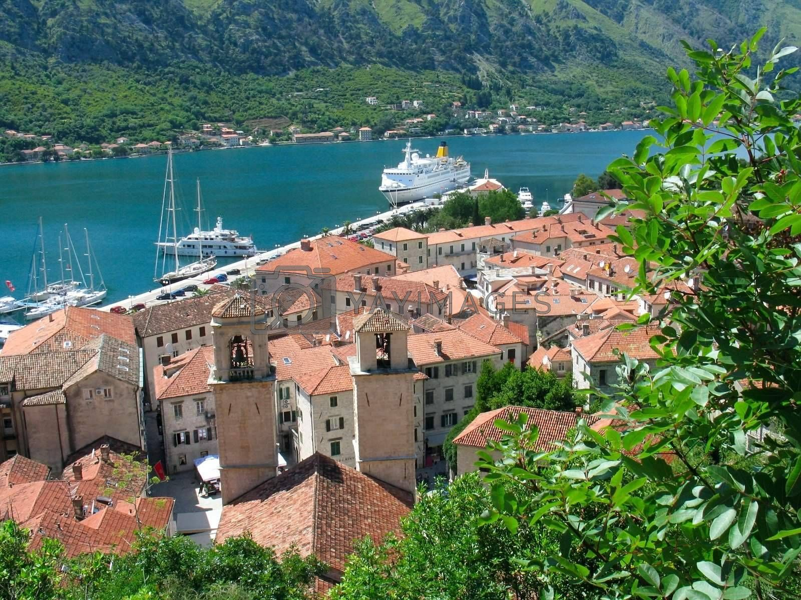 Medieval town Kotor in Montenegro, view from above