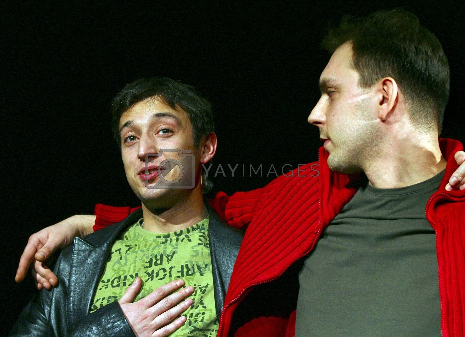 "Performance ""September.doc"" director Michael Ugarova. In a picture: Sergey Shevchenko and Ruslan Malikov"