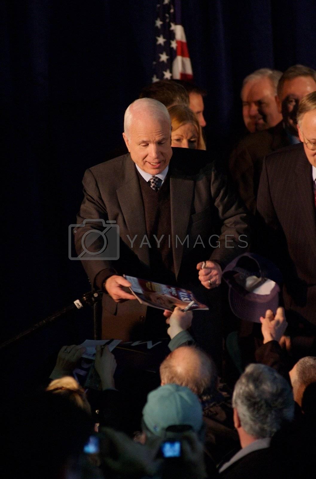 Senator John McCain, on his presidential campaign, gives a speech in South Burlington, VT