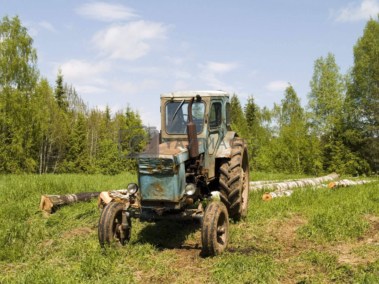 Old tractor photographed in Russia