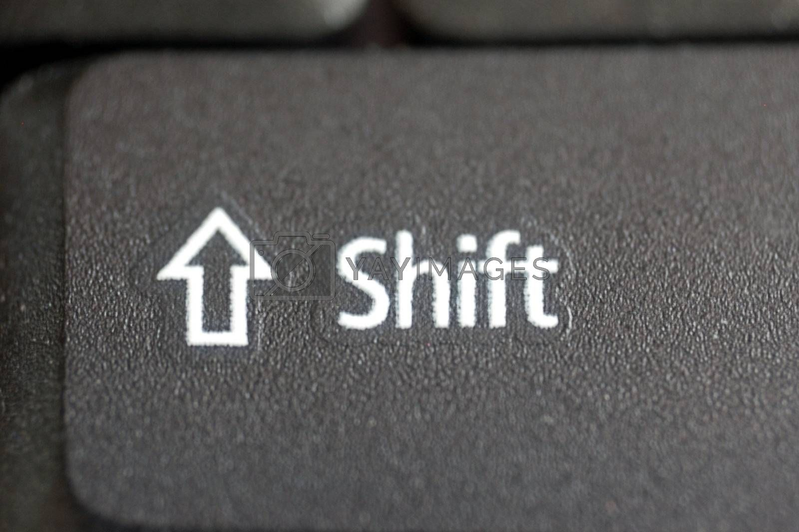 macro of Shift button of laptop