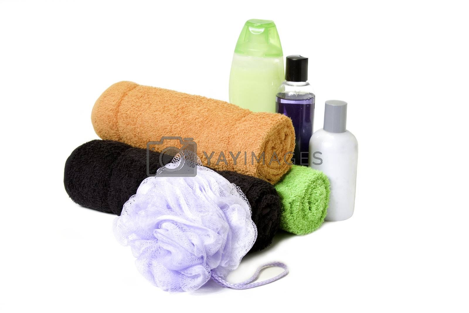 isolated towels and bath prouducts