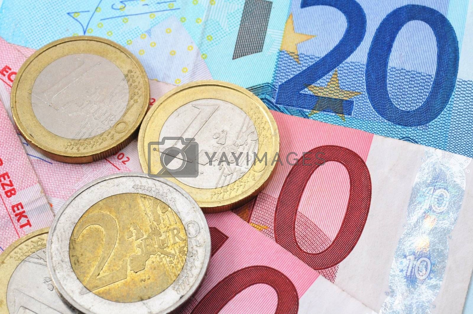 finance or financial success concept with euro money