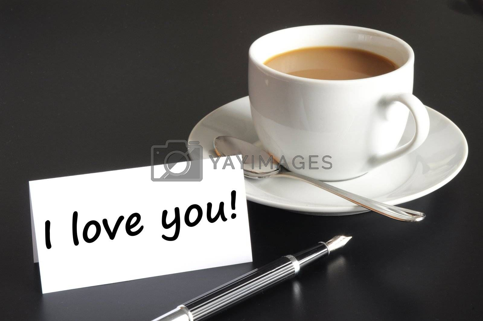 i love you message and coffe on the morning at breakfast
