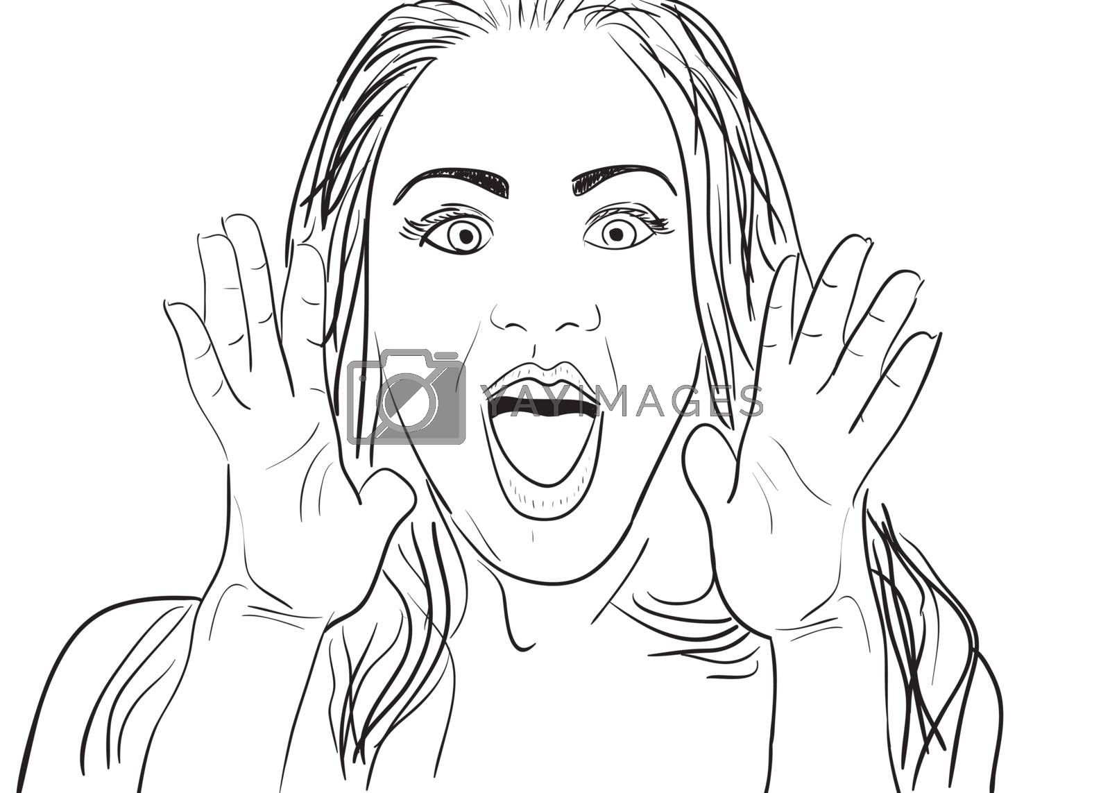 A cartoon vector drawing of a surprised or amazed woman.