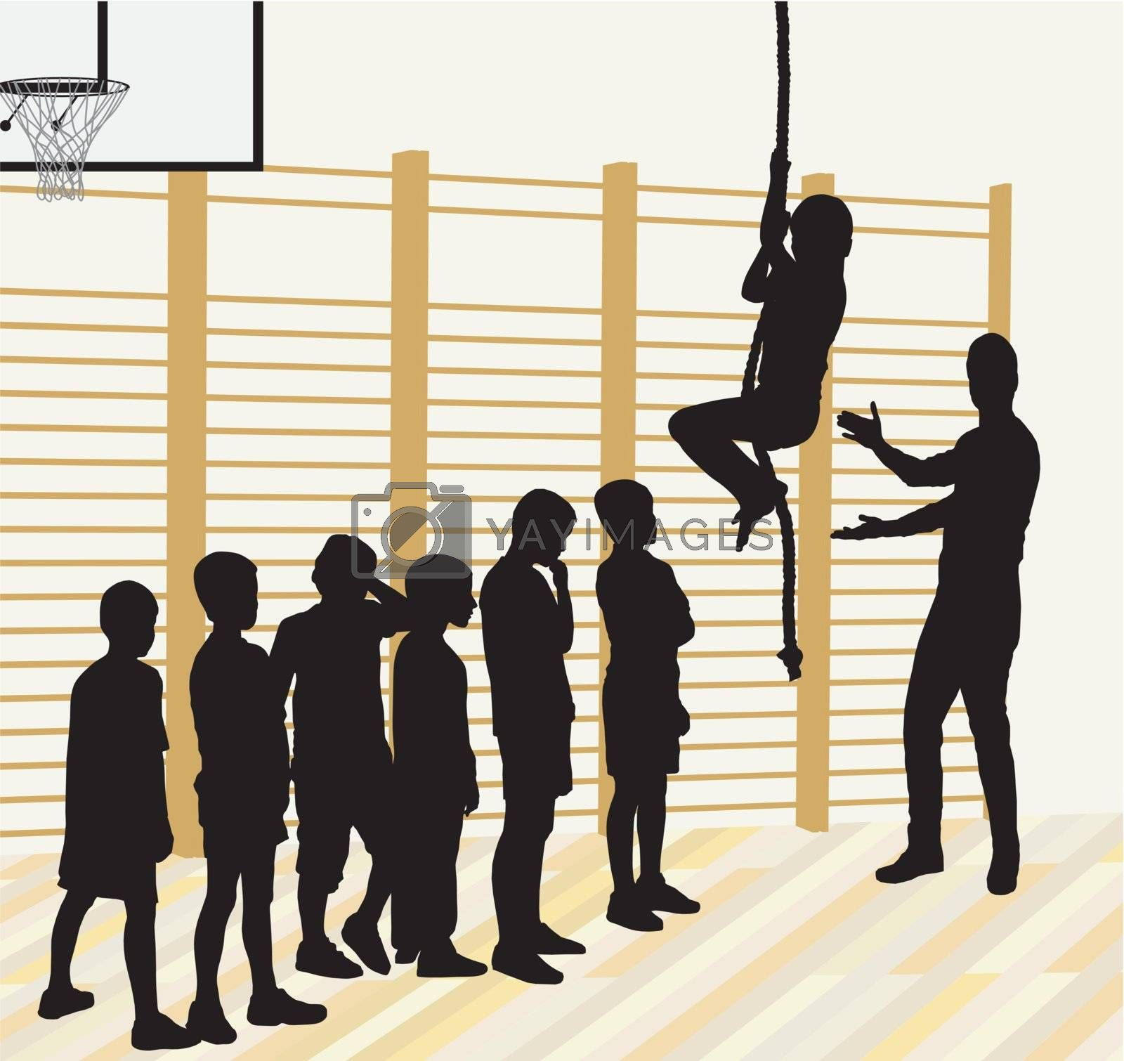 Vector silhouettes of boys, learners climb
