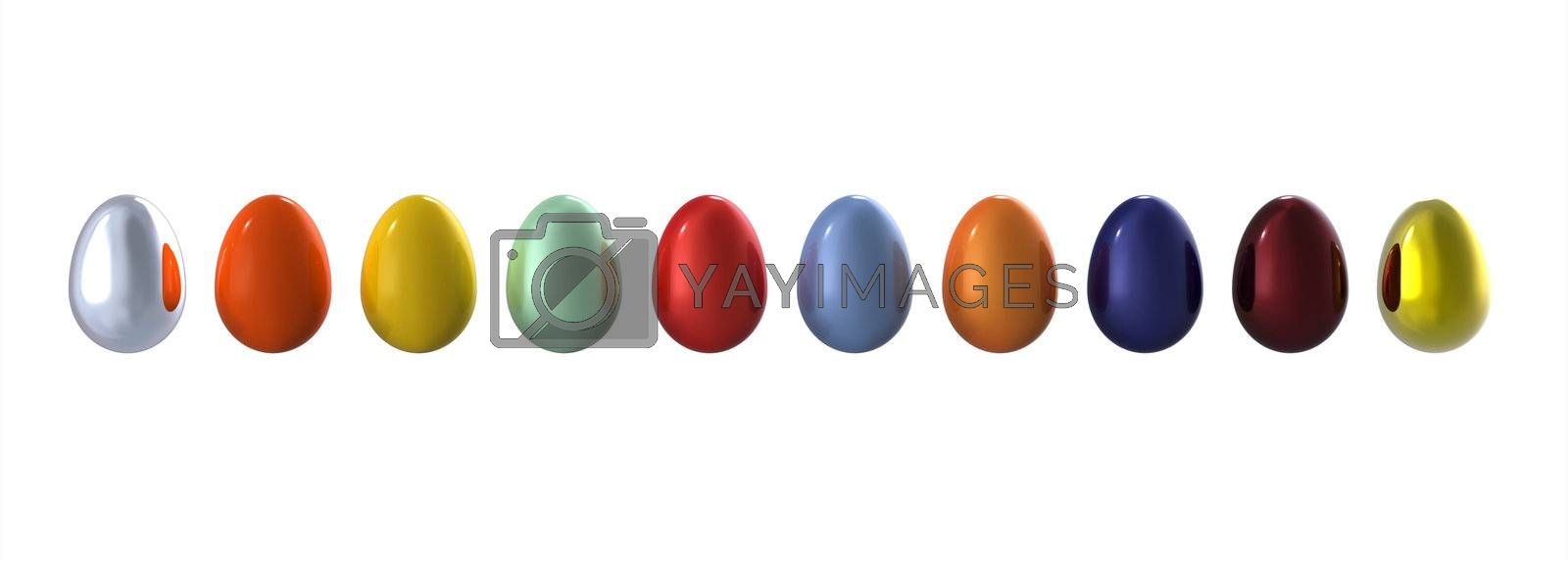Colored eggs in line on white background, 3d render