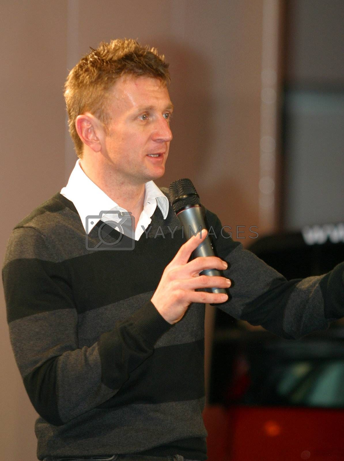 Alan McNish talks at the Autosport show at the NEC Birmingham, 13/01/08