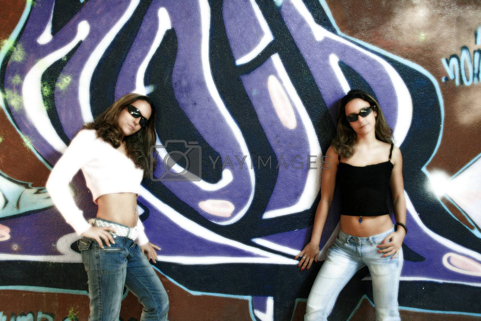 Fashion Girl over graffiti background